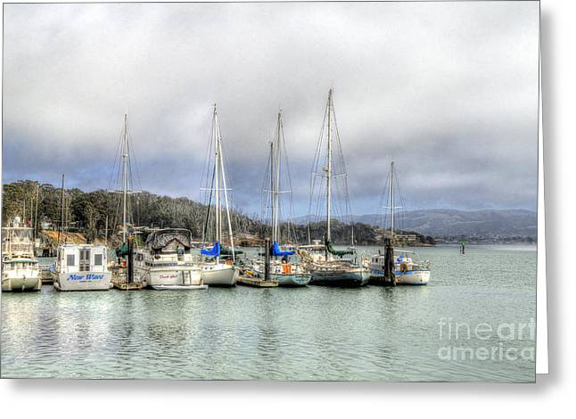 7 Boats In A Row Greeting Card