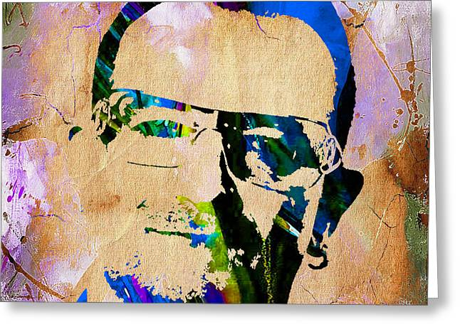 Bono U2 Greeting Card by Marvin Blaine