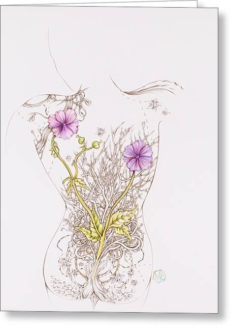 Botanicalia Patricia Greeting Card by Karen Robey