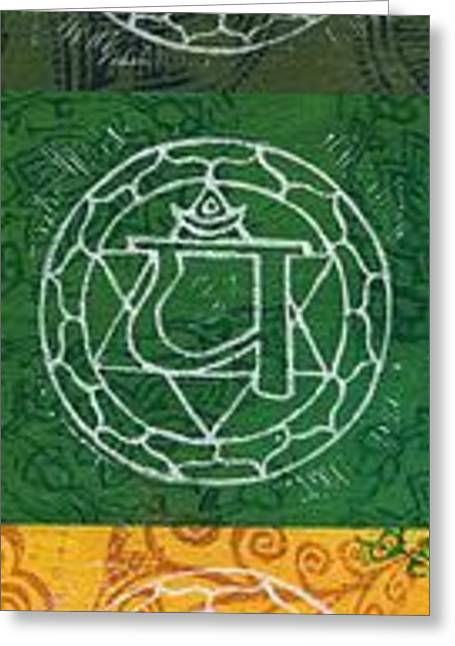 7 Chakras Greeting Card by Jennifer Mazzucco
