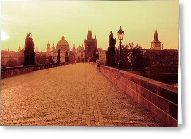 Charles Bridge, Prague, Czech Republic Greeting Card by Panoramic Images