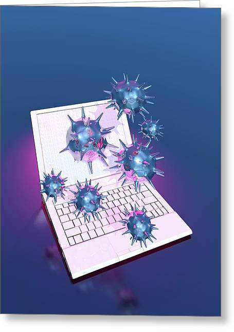 Computer Virus Greeting Card by Victor Habbick Visions/science Photo Library