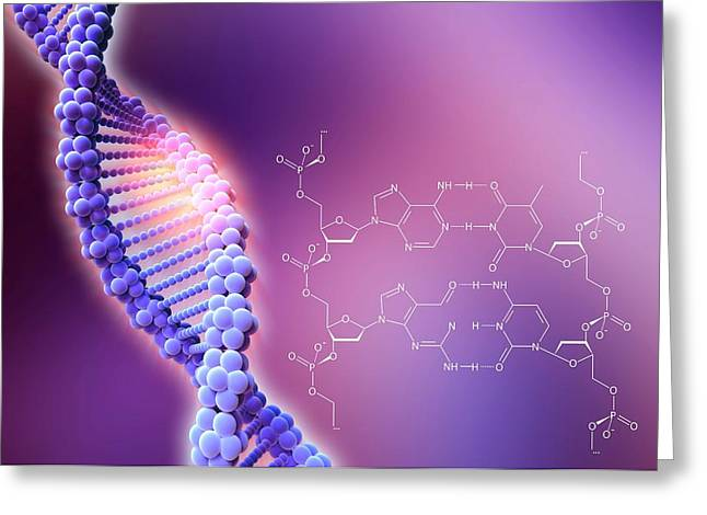 Crispr-cas9 Gene Editing Greeting Card by Alfred Pasieka/science Photo Library