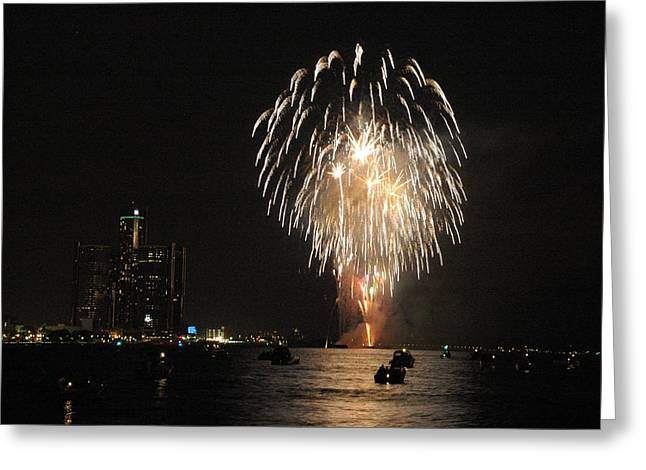 Detroit Fireworks Greeting Card