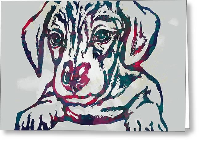 Dog Stylised Pop Modern Etching Art Portrait Greeting Card
