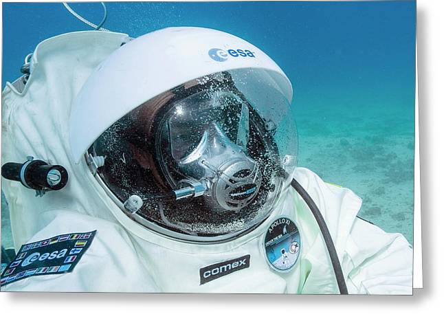 Esa Underwater Astronaut Training Greeting Card by Alexis Rosenfeld