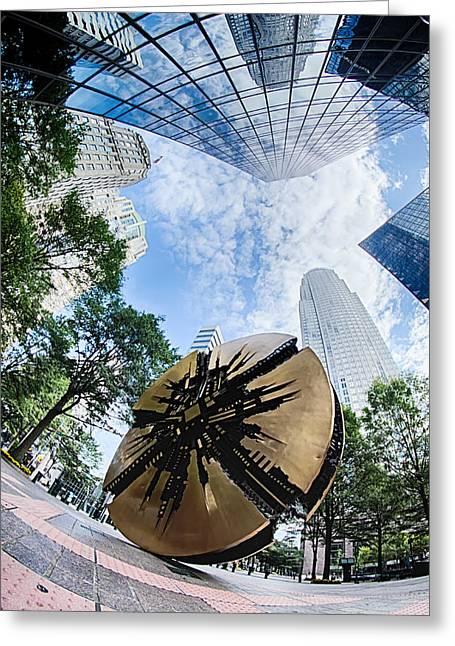 Financial Skyscraper Buildings In Charlotte North Carolina Usa Greeting Card by Alex Grichenko
