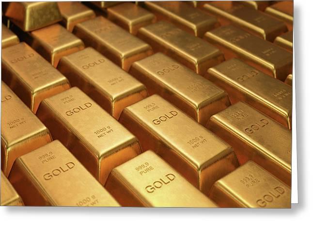 Gold Bullion Greeting Card by Ktsdesign
