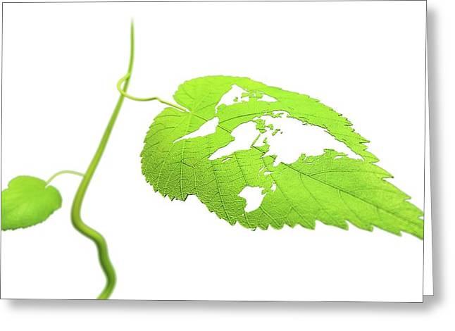 Green Planet Greeting Card by Andrzej Wojcicki/science Photo Library