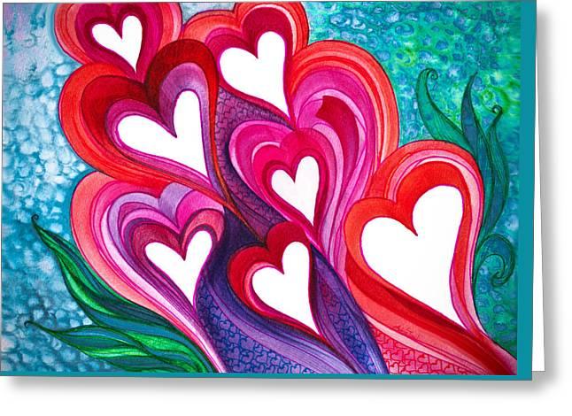 7 Hearts Greeting Card