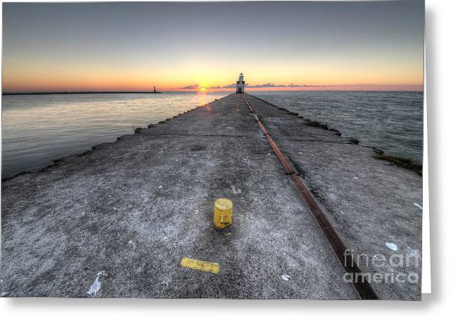 Kewaunee Pierhead Lighthouse Greeting Card by Twenty Two North Photography