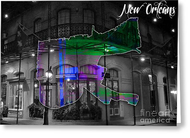 New Orleans Map Watercolor Greeting Card by Marvin Blaine
