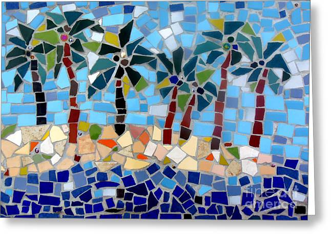 7 Palm Trees Mosaic Greeting Card by Lou Ann Bagnall