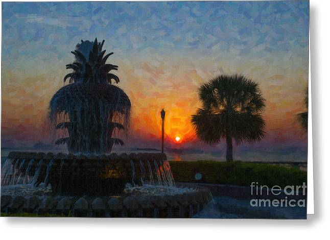 Pineapple Fountain At Dawn Greeting Card