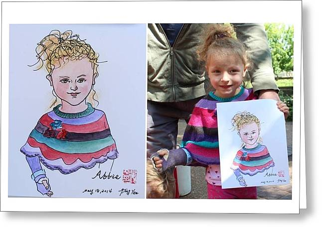 Portrait Sketch Greeting Card by Ping Yan
