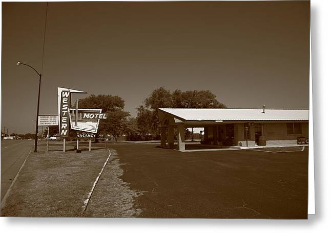 Route 66 - Western Motel Greeting Card by Frank Romeo