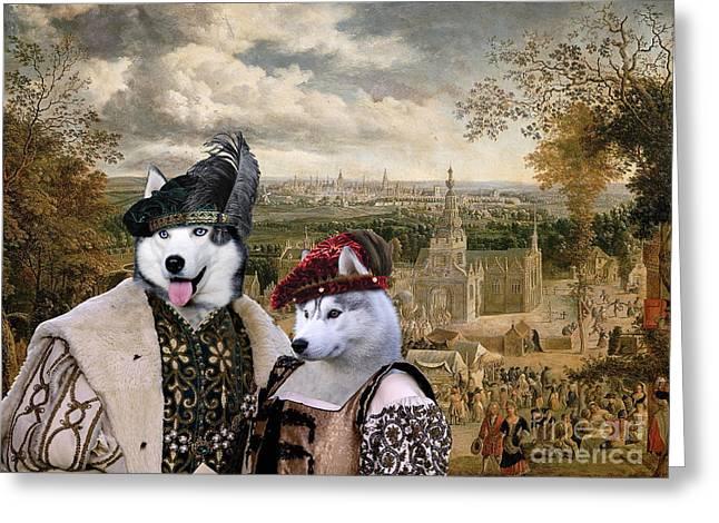 Siberian Husky Art Canvas Print Greeting Card