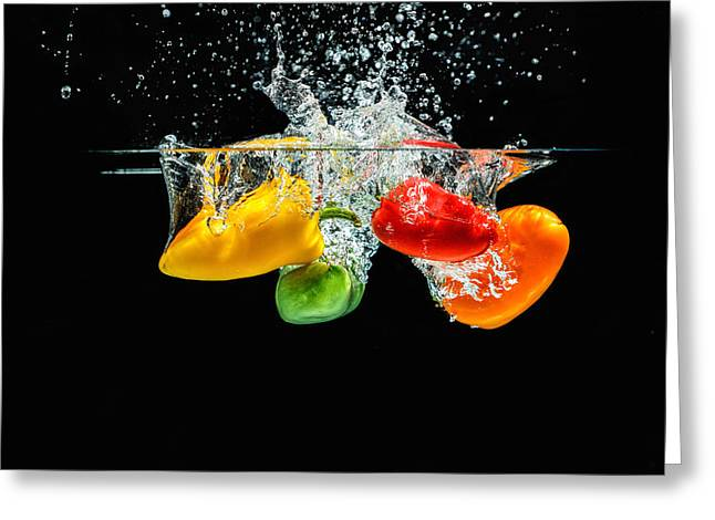 Splashing Paprika Greeting Card