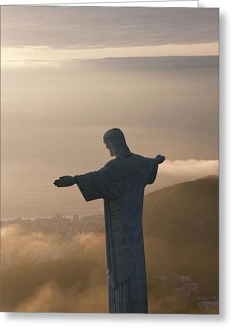 The Art Deco Statue Of Jesus, Known Greeting Card by Peter Adams