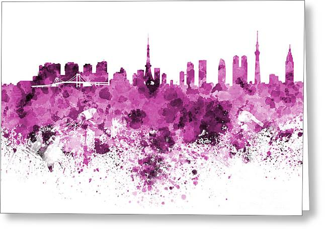 Tokyo Skyline In Watercolor On White Background Greeting Card
