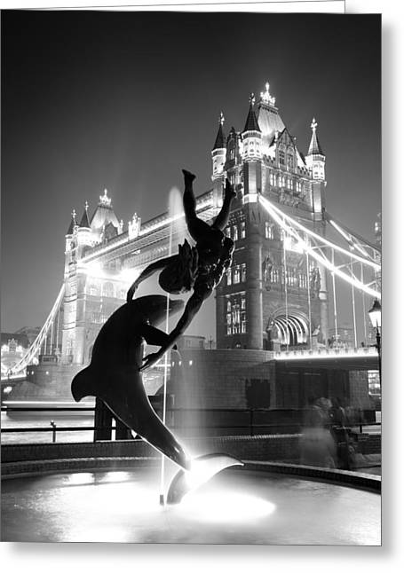 Tower Bridge And Statue Greeting Card