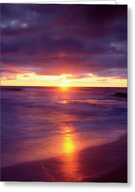 Usa, California, San Diego, Sunset Greeting Card