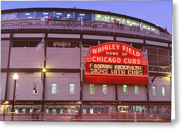 Usa, Illinois, Chicago, Cubs, Baseball Greeting Card by Panoramic Images