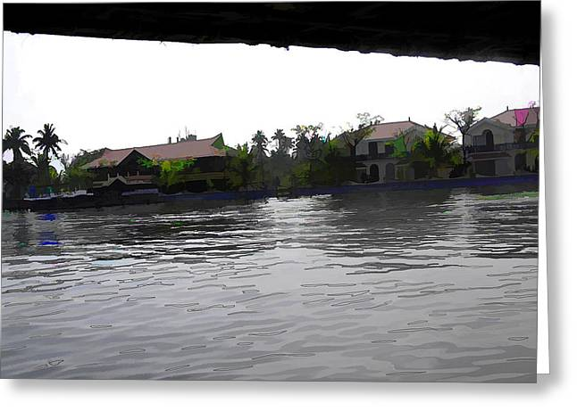 View Of Lake Resort Framed From The Top Of A Houseboat Greeting Card by Ashish Agarwal