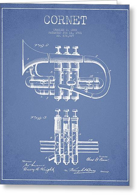 Cornet Patent Drawing From 1901 - Light Blue Greeting Card