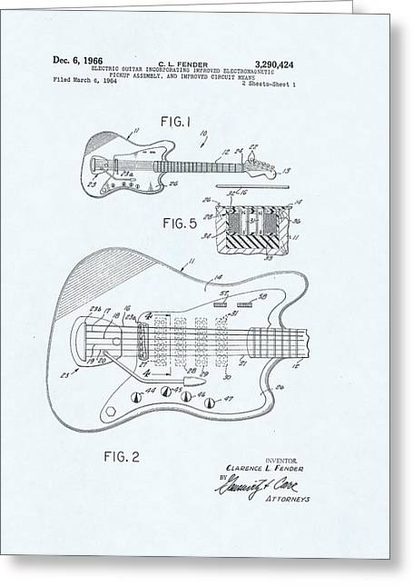 Les Paul Blueprint Greeting Cards