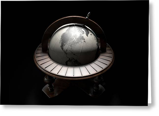 Vintage Wooden World Globe Greeting Card