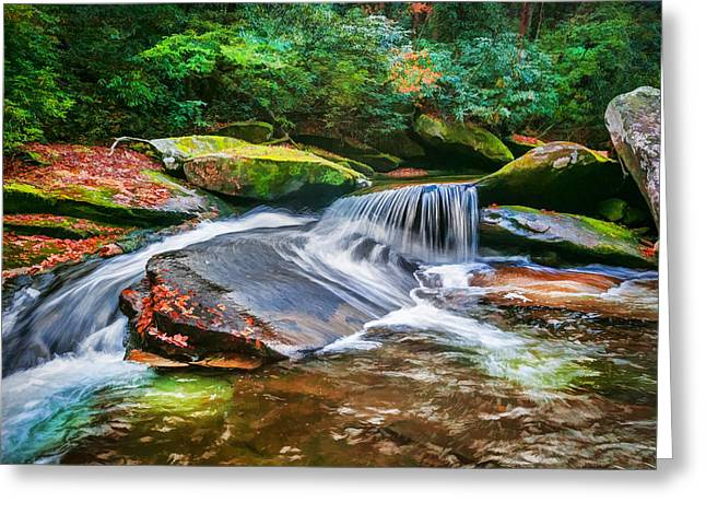 Waterfalls Great Smoky Mountains Painted Greeting Card by Rich Franco