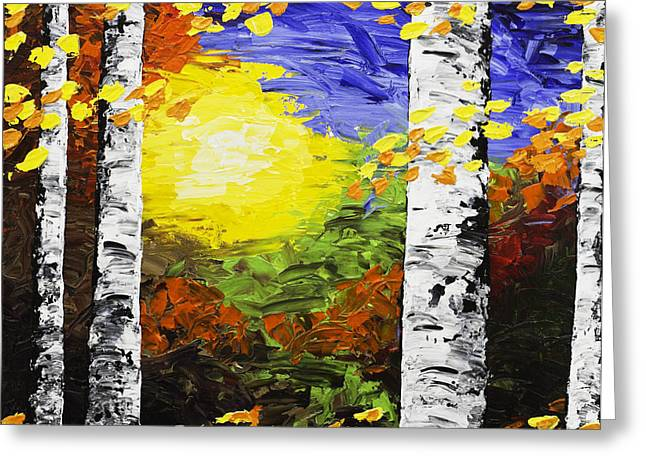White Birch Tree Abstract Painting In Autumn Greeting Card