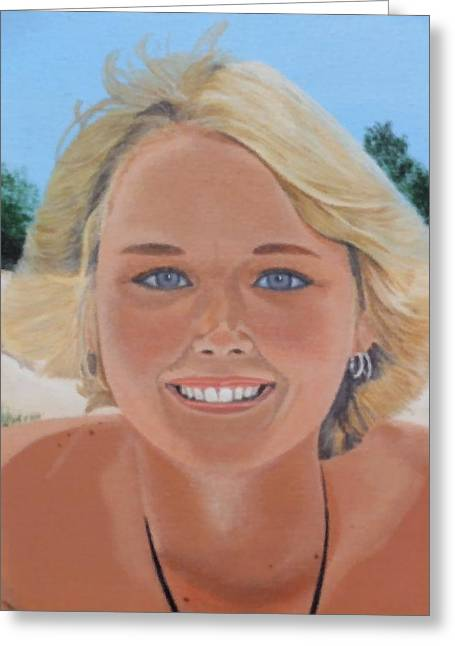 70's Girl On The Beach Greeting Card by Scott Kingery
