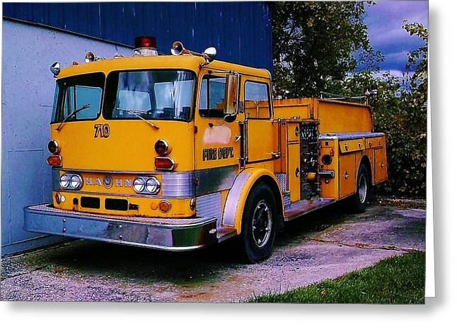 Greeting Card featuring the photograph 710 ....... Fire Dept. by Daniel Thompson
