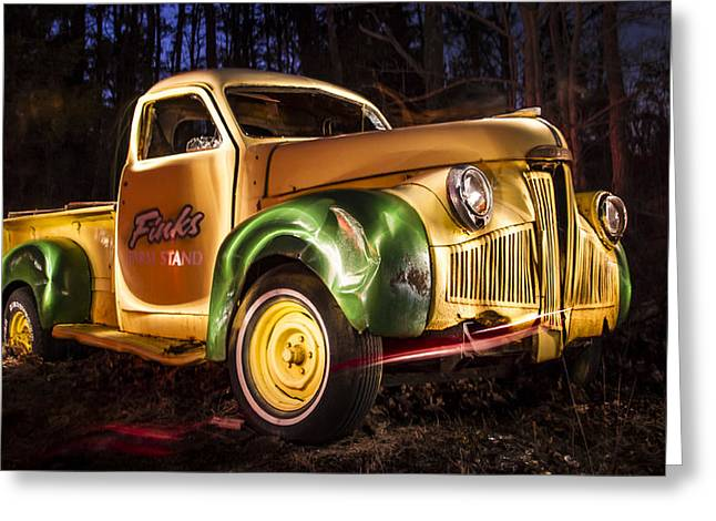 7136 Old Truck Lightpainting Greeting Card by Deidre Elzer-Lento