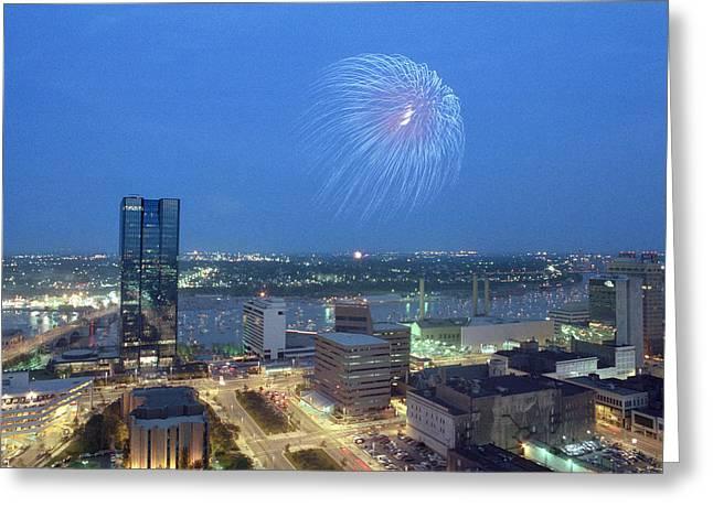 7403 Toledo Twilight Ohio Fireworks Over Maumee River Greeting Card