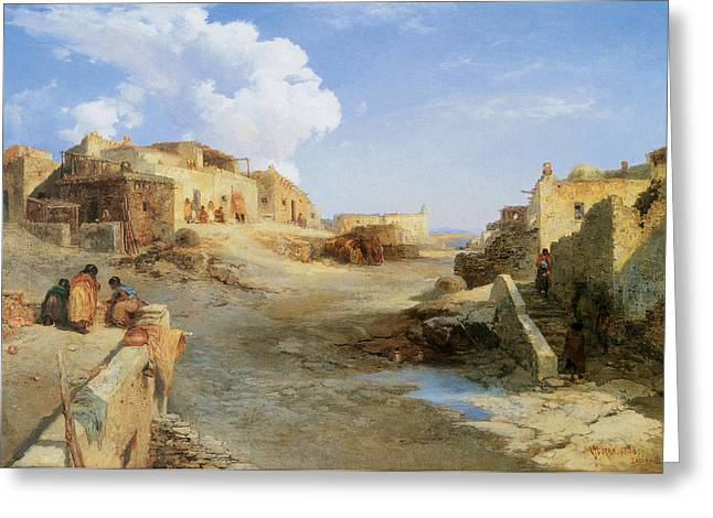 An Indian Pueblo Laguna New Mexico Greeting Card by Thomas Moran