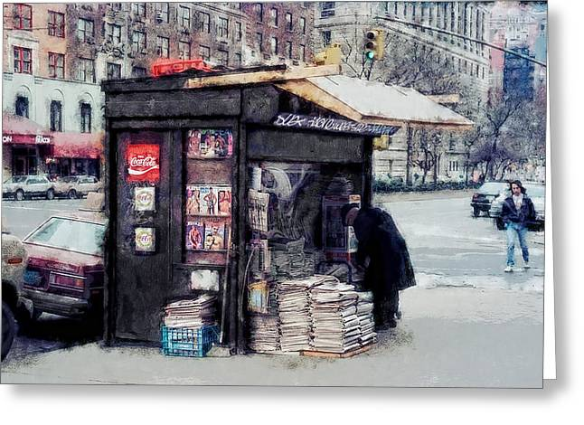 75th And Broadway Newsstand - New York Greeting Card by Daniel Hagerman