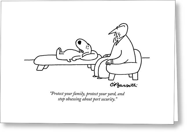 Protect Your Family Greeting Card by Charles Barsotti
