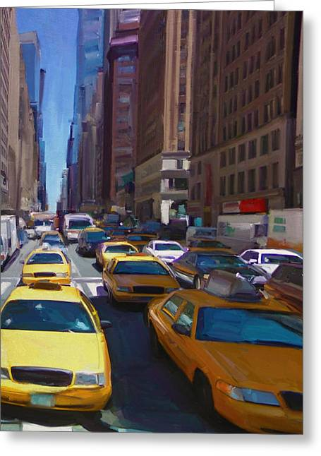 Greeting Card featuring the painting 7th Avenue W36th Street Nyc by Nop Briex