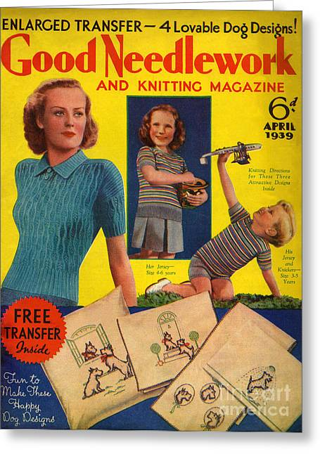 1930s Uk Good Needlework And Knitting Greeting Card by The Advertising Archives