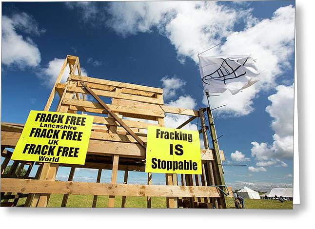 A Protest Banner Against Fracking Greeting Card