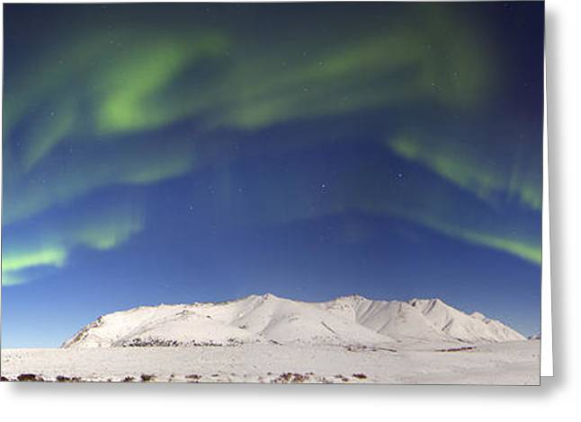 Aurora Borealis With Moonlight Greeting Card by Joseph Bradley