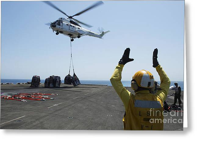 Aviation Boatswains Mate Directs An Greeting Card