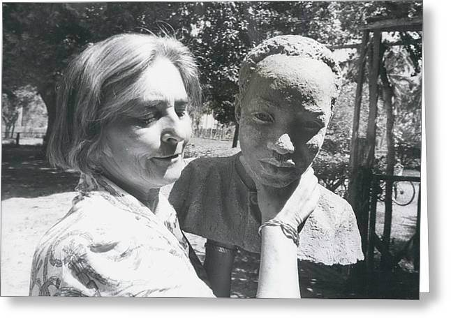British-born Sculptress Completes Bust Of President Nyerere Greeting Card by Retro Images Archive