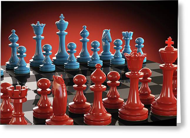Chess Board And Pieces Greeting Card by Ktsdesign