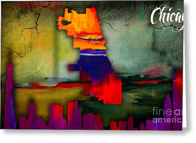 Chicago Map And Skyline Watercolor Greeting Card