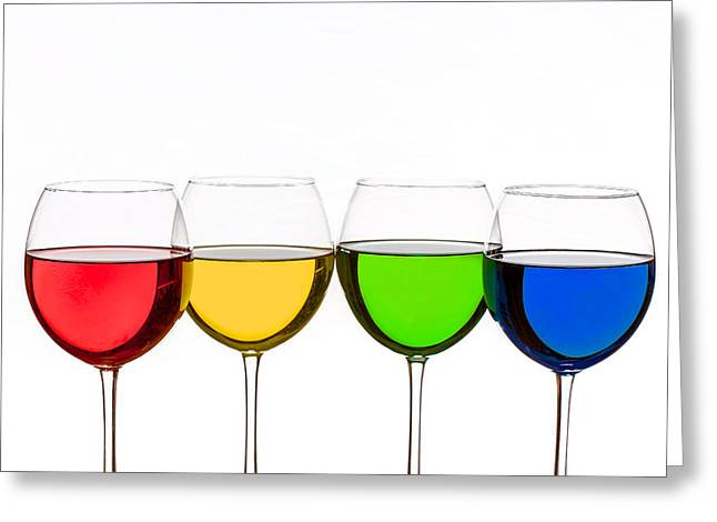 Colorful Wine Glasses Greeting Card by Peter Lakomy