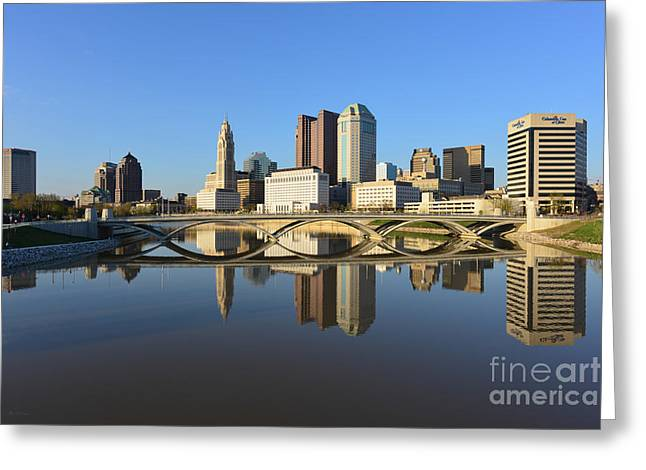 Fx1l-1058 Columbus Ohio Skyline Photo Greeting Card